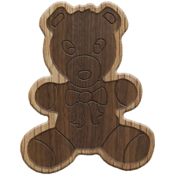 Paddle Tramps Double-Raised Teddy Bear Wooden Symbol