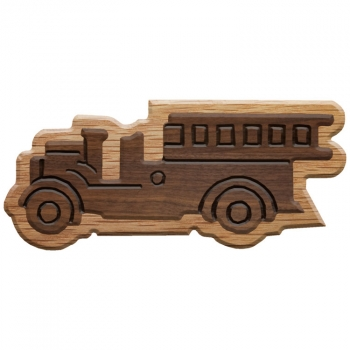 Paddle Tramps Double-Raised Firetruck Wooden Symbol