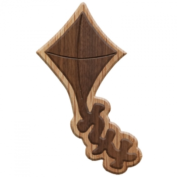 Paddle Tramps Double-Raised Kite Wooden Symbol