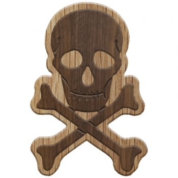 Paddle Tramps Double-Raised Skull & Crossbones Wooden Symbol