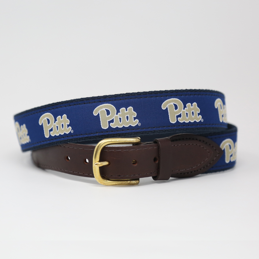 Jardine Men's Pitt Logo Canvas Ribbon Belt - Size 36
