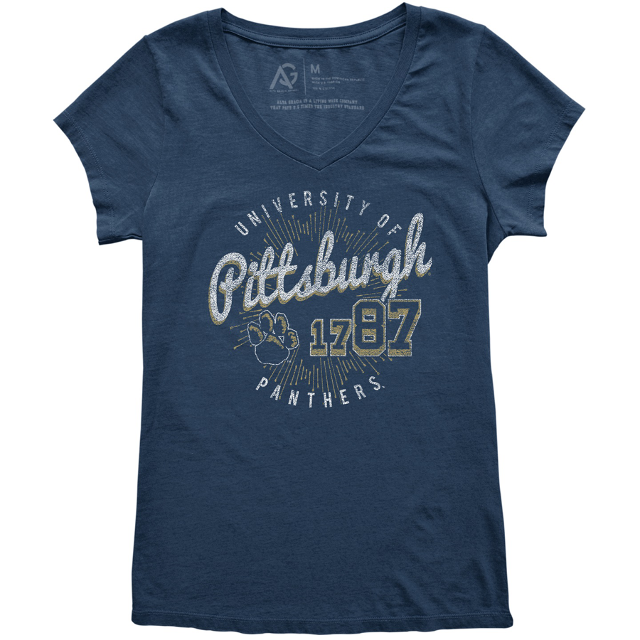 Alta Gracia Women's University of Pittsburgh V-Neck T-Shirt