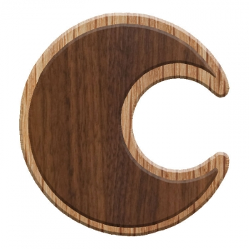 Image For Paddle Tramps Double-Raised Crescent Moon Wooden Symbol