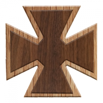 Image For Paddle Tramps Double-Raised Cross Wooden Symbol