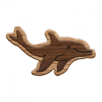 Image For Paddle Tramps Double-Raised Dolphin Wooden Symbol