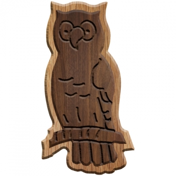Image For Paddle Tramps Double-Raised Owl Wooden Symbol