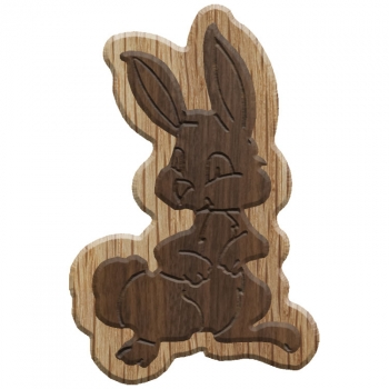 Image For Paddle Tramps Double-Raised Rabbit Wooden Symbol