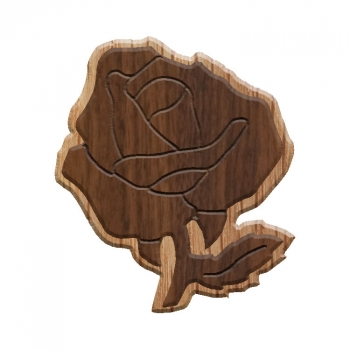 Image For Paddle Tramps Double-Raised Rose Wooden Symbol