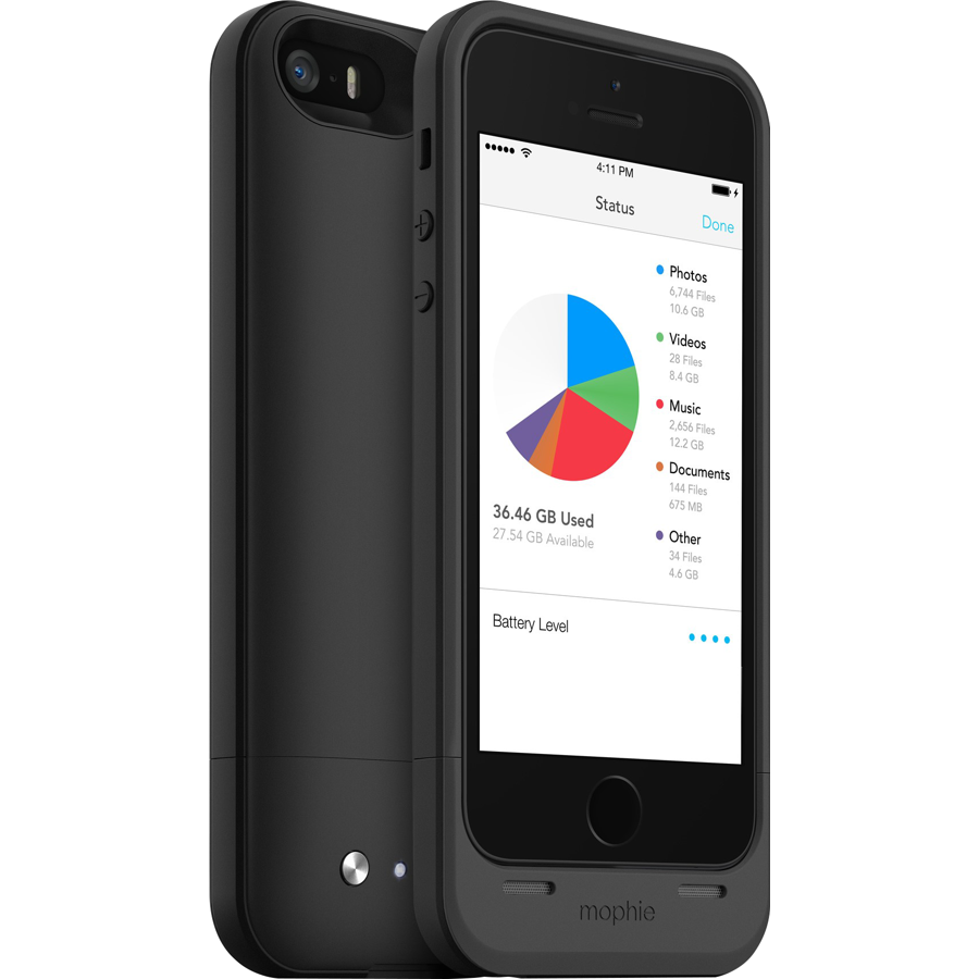 Image For Mophie Space Pack Extended Battery 32GB iPhone 5, 5s - Black
