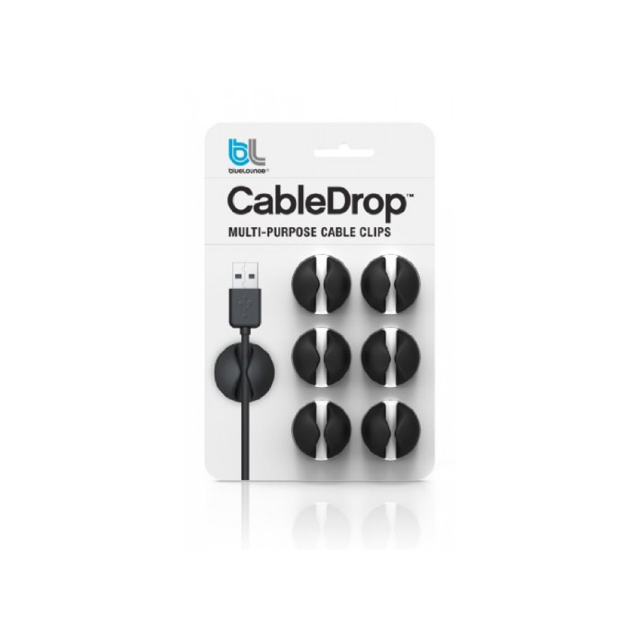 Image For Cabledrop Cable Clips 6-Pack - Black
