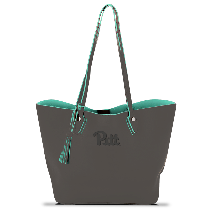 Image For MCM Duet Tote in Charcoal/Mint