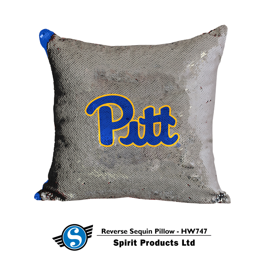 Image For Spirit Products Sequin Pillow in Silver/Royal