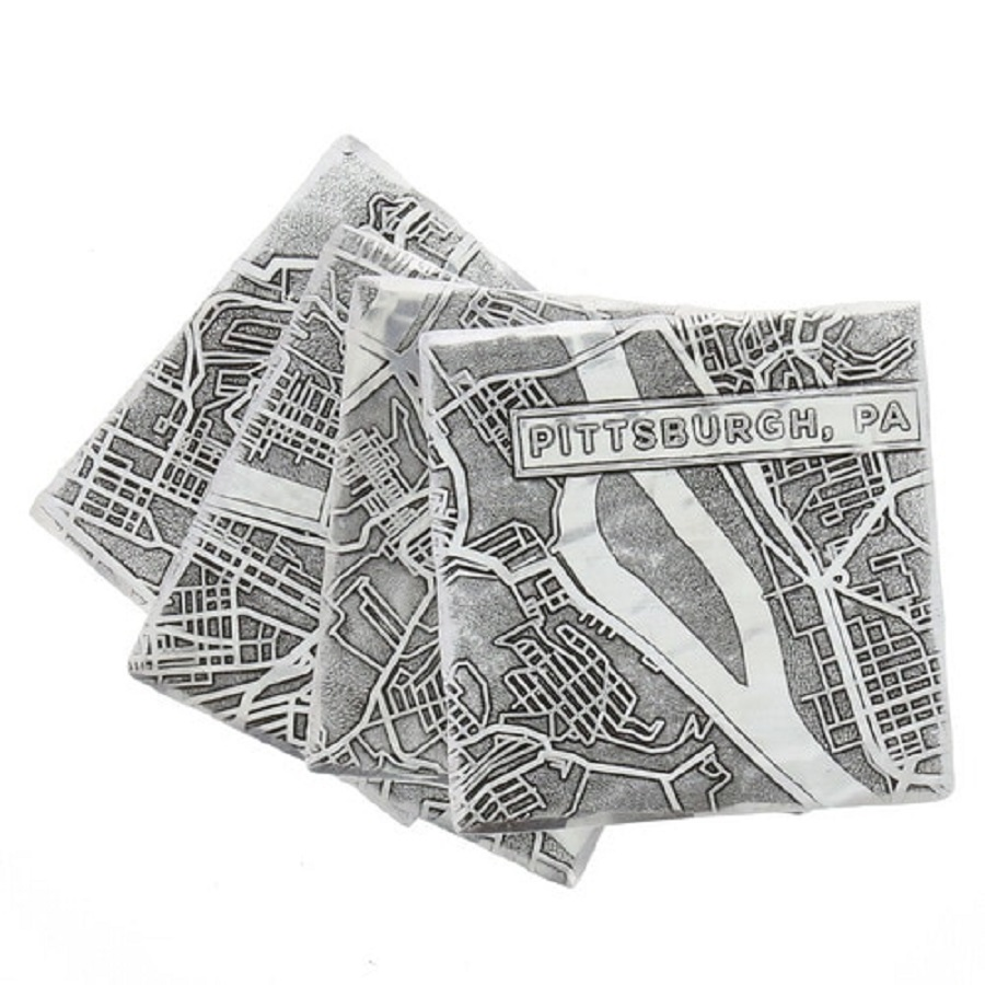 Image For City of Pittsburgh Map 4 Piece Coaster Set