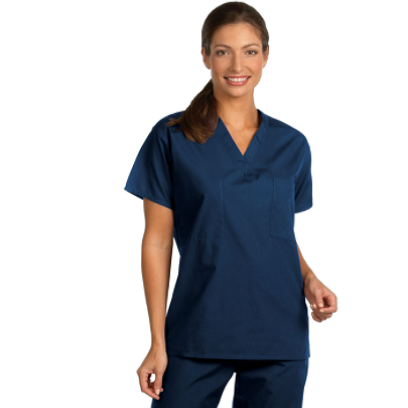 Image For Unisex Fashion Seal Navy Scrub Top XS-XL